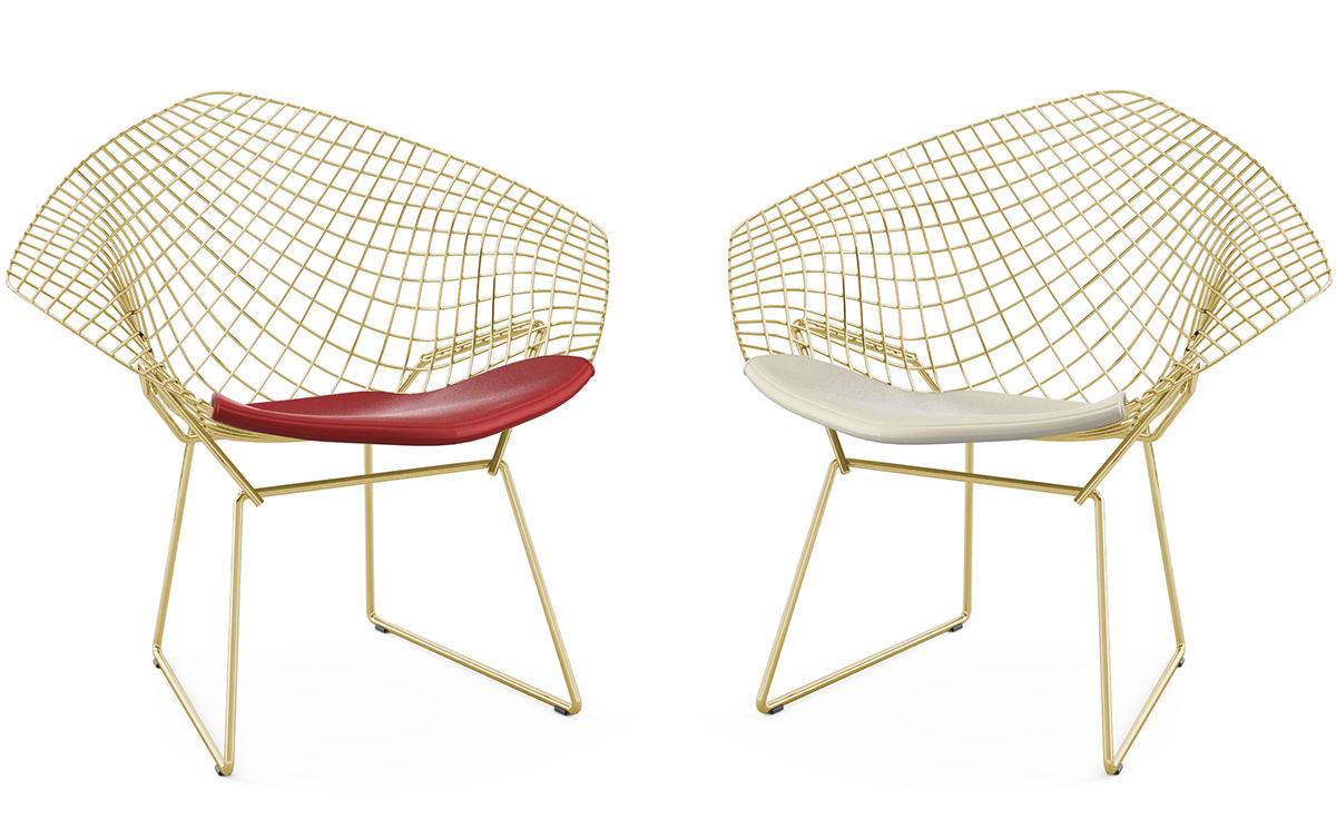 bertoia gold plated small diamond chair with seat cushion. Black Bedroom Furniture Sets. Home Design Ideas