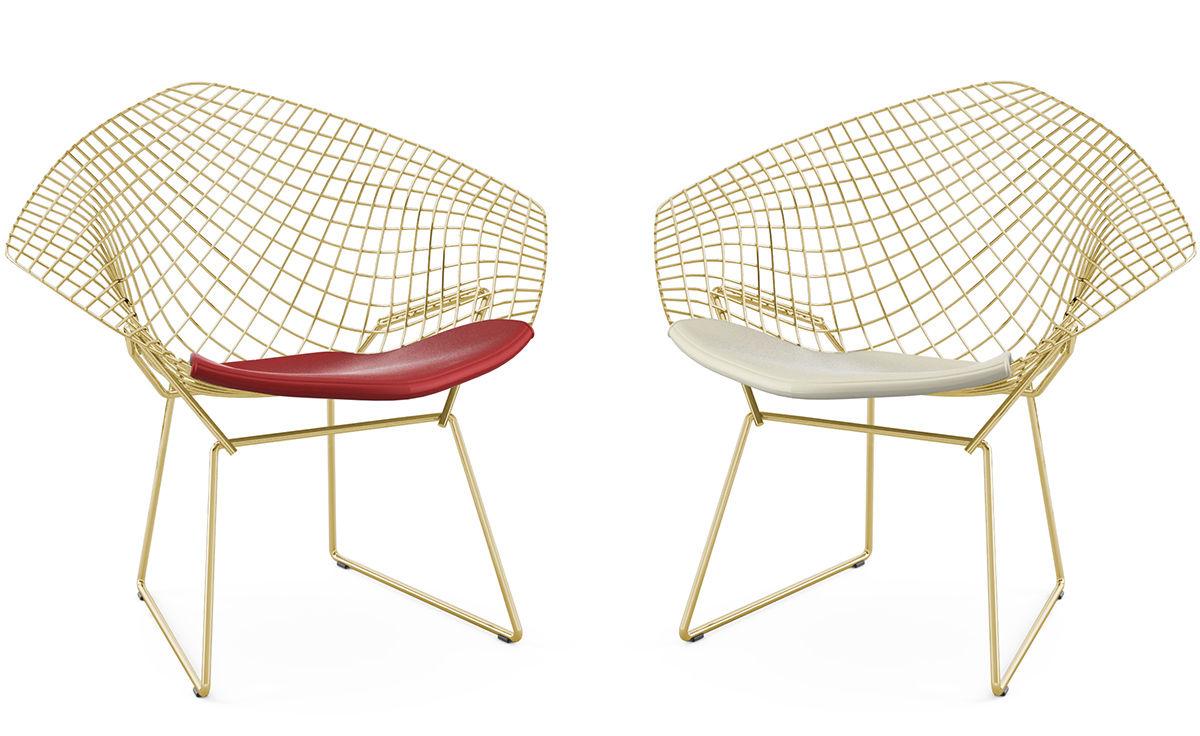 Bertoia diamond chair cushion - Chair Knoll Bertoia Gold Plated Small Diamond Chair With Seat Cushion
