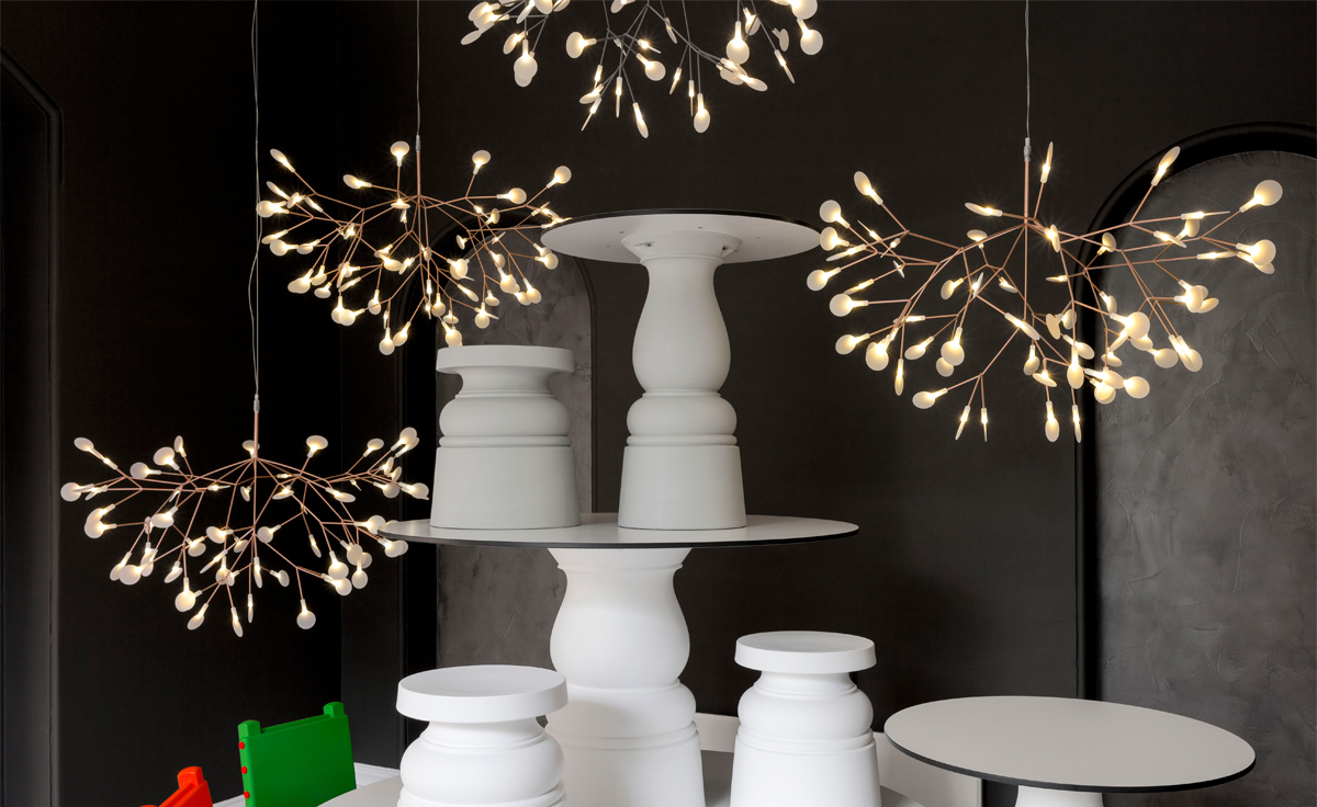 Heracleum suspension light for Suspension a 3 lampes