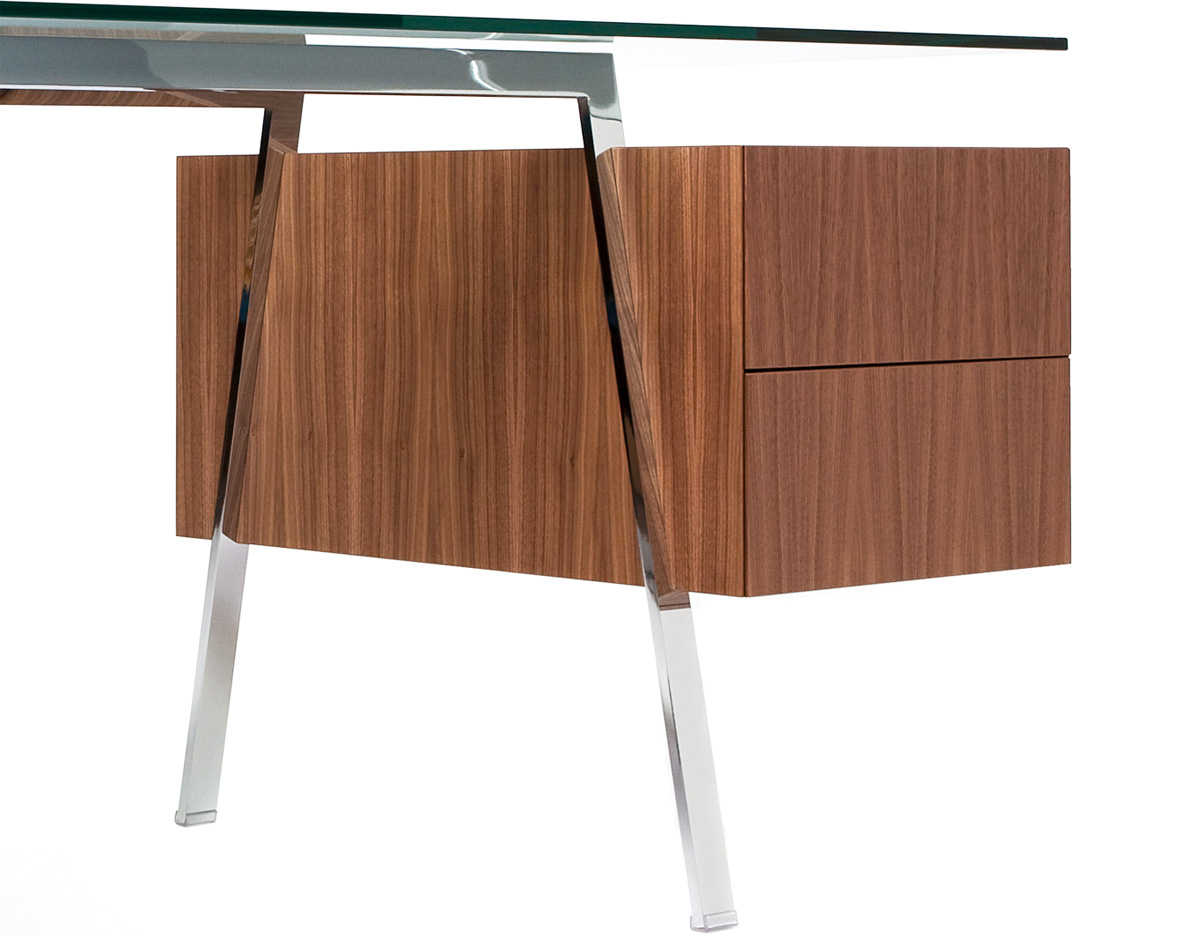 Glass Top Desk With Drawers