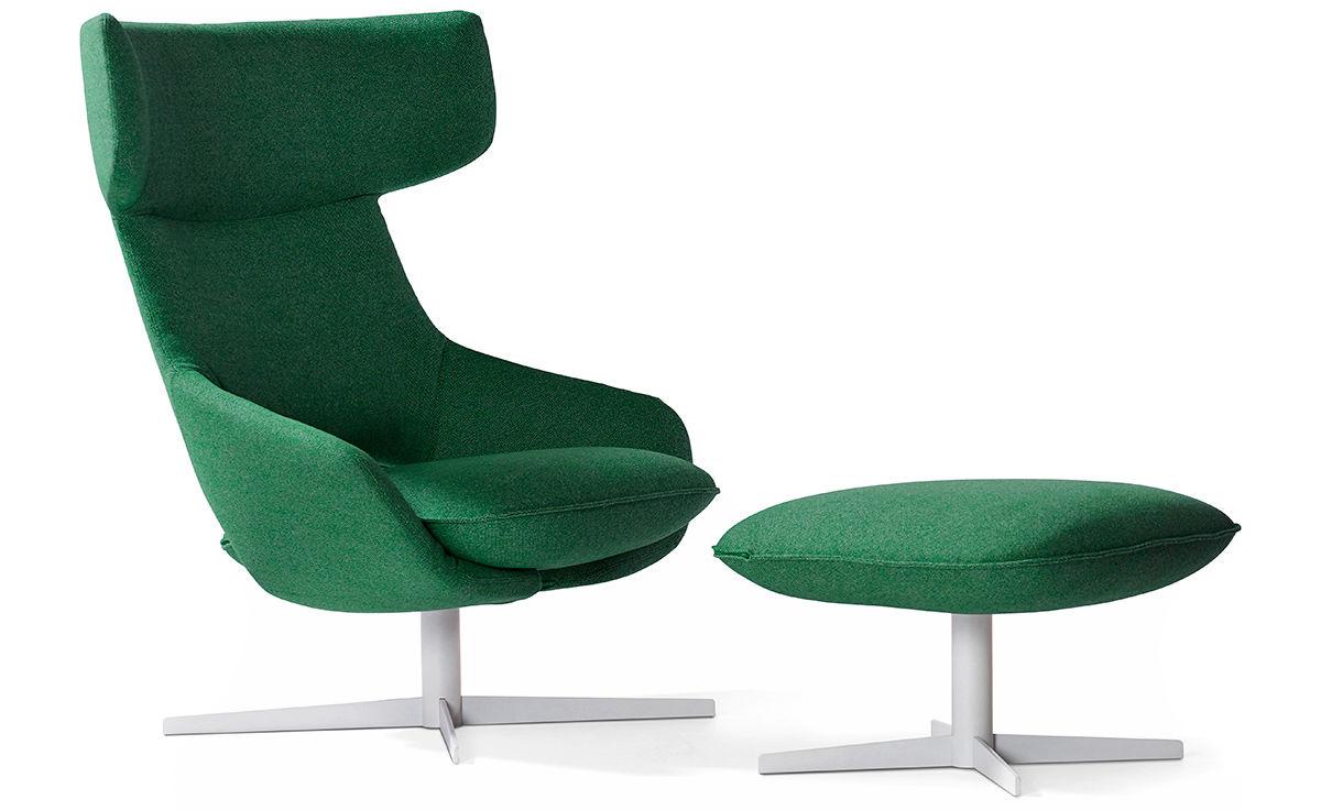 Kalm Swivel Metal Base Lounge Chair Amp Ottoman Hivemodern Com