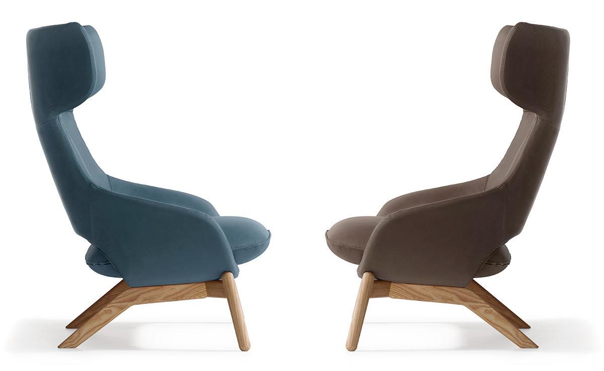 Wood Base Chairs ~ Kalm wood base lounge chair hivemodern