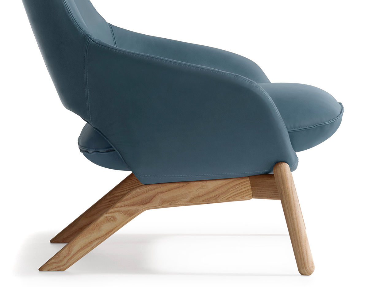 Kalm Wood Base Lounge Chair Hivemodern Com