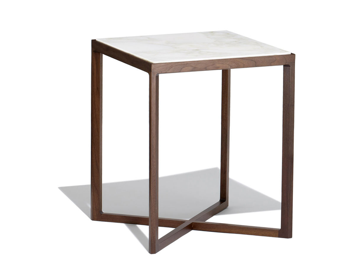 Krusin 18 h square side table with walnut base for Side table base
