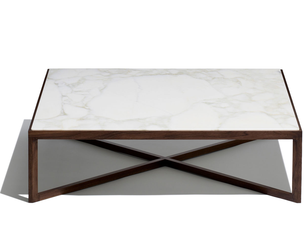 Krusin square coffee table with walnut frame for Modern hive