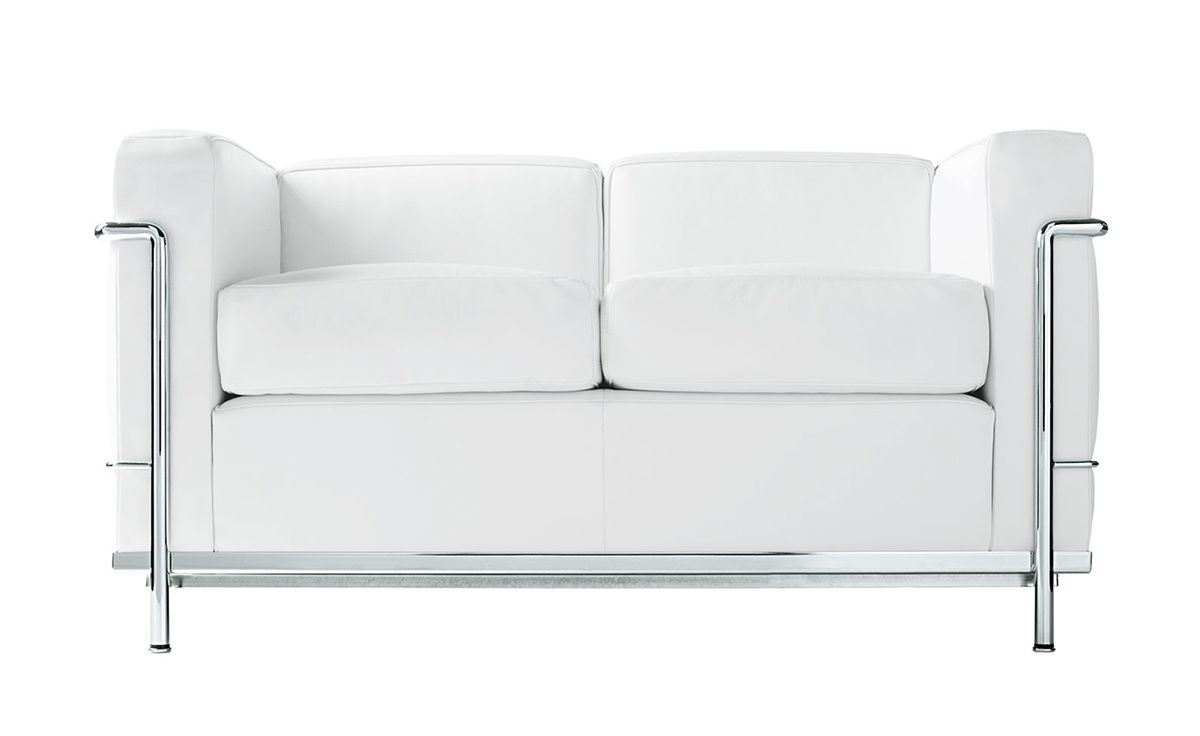Le corbusier lc2 two seat sofa with down cushions for Le corbusier lc2