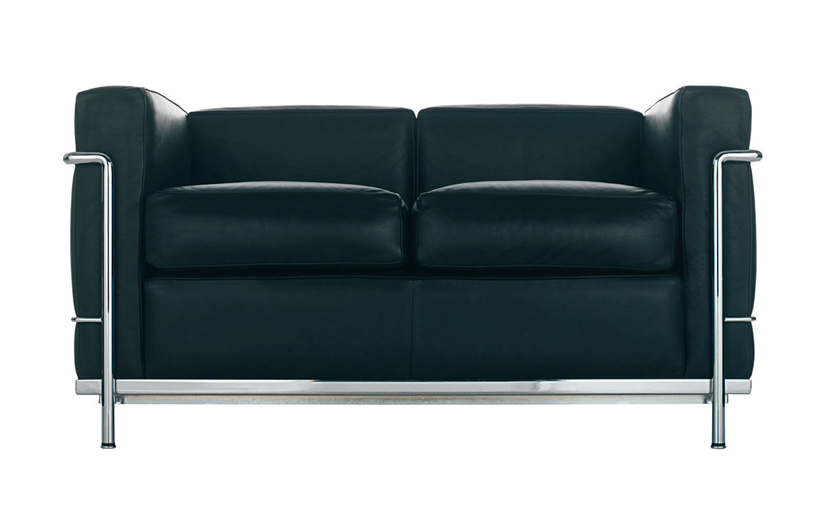 le corbusier lc2 two seat sofa with down cushions. Black Bedroom Furniture Sets. Home Design Ideas