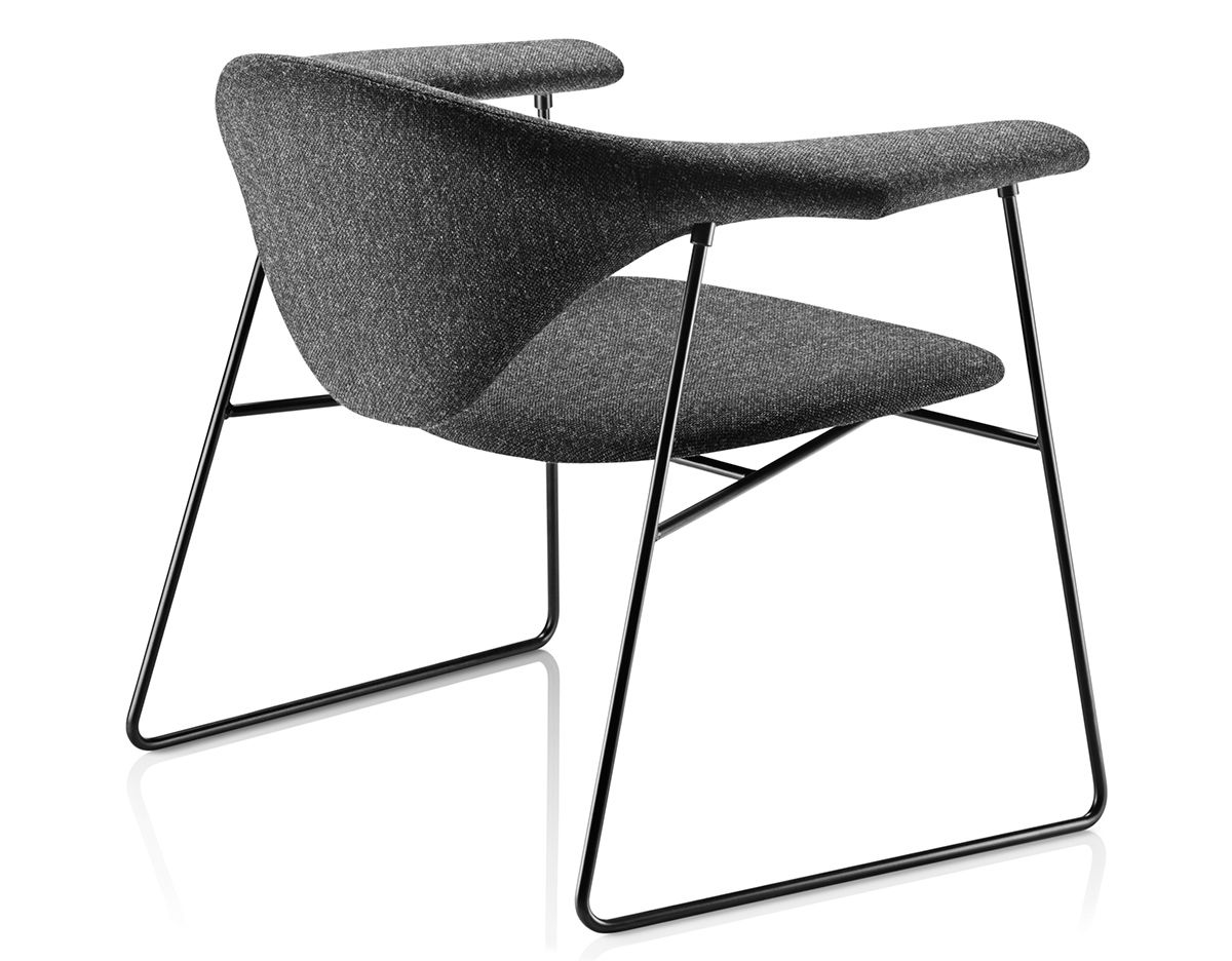 masculo lounge chair with sled base hivemodern com 10770 | masculo sled base lounge chair gamfratesi gubi 2