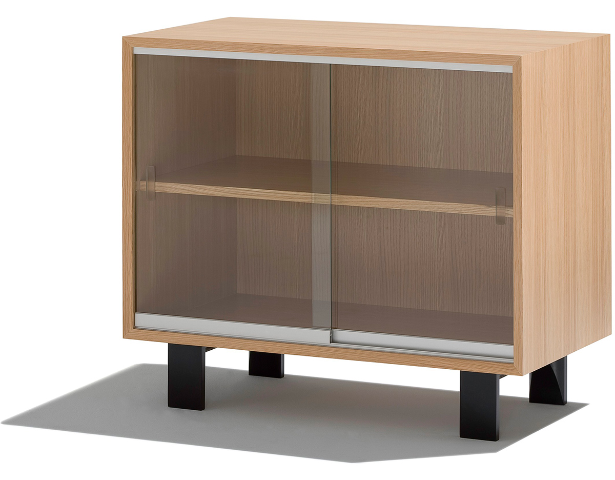 Nelson Basic Cabinet With Glass Sliding Doors Hivemodern