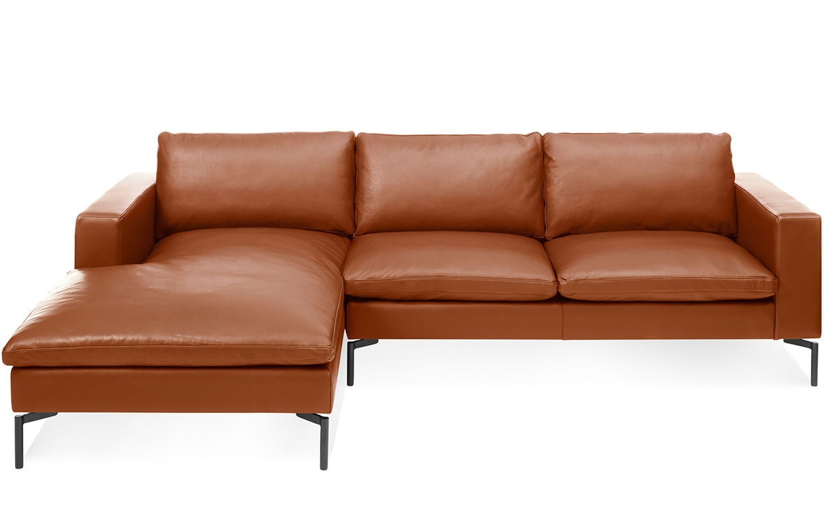new standard leather sofa with chaise blu dot