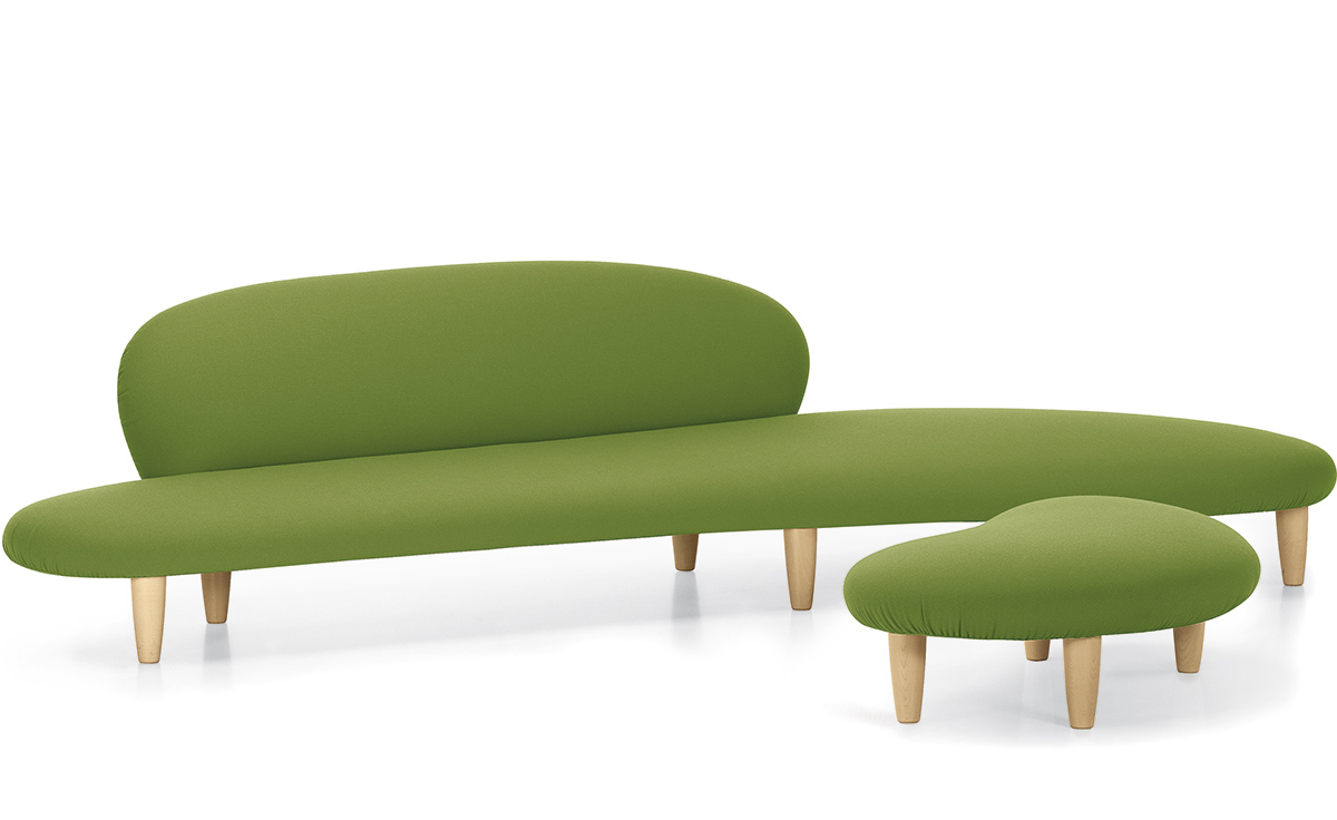 Noguchi freeform sofa and ottoman for Sofa ottomane