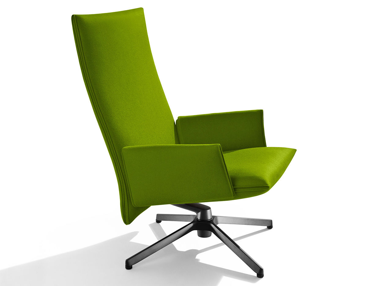 Pilot High Back Lounge Chair With Upholstered Arms