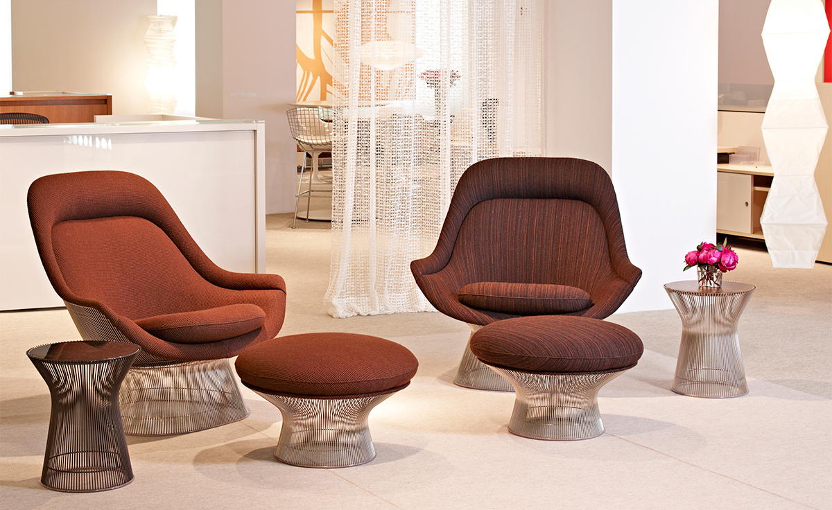 Platner Chair platner easy chair and ottoman - hivemodern
