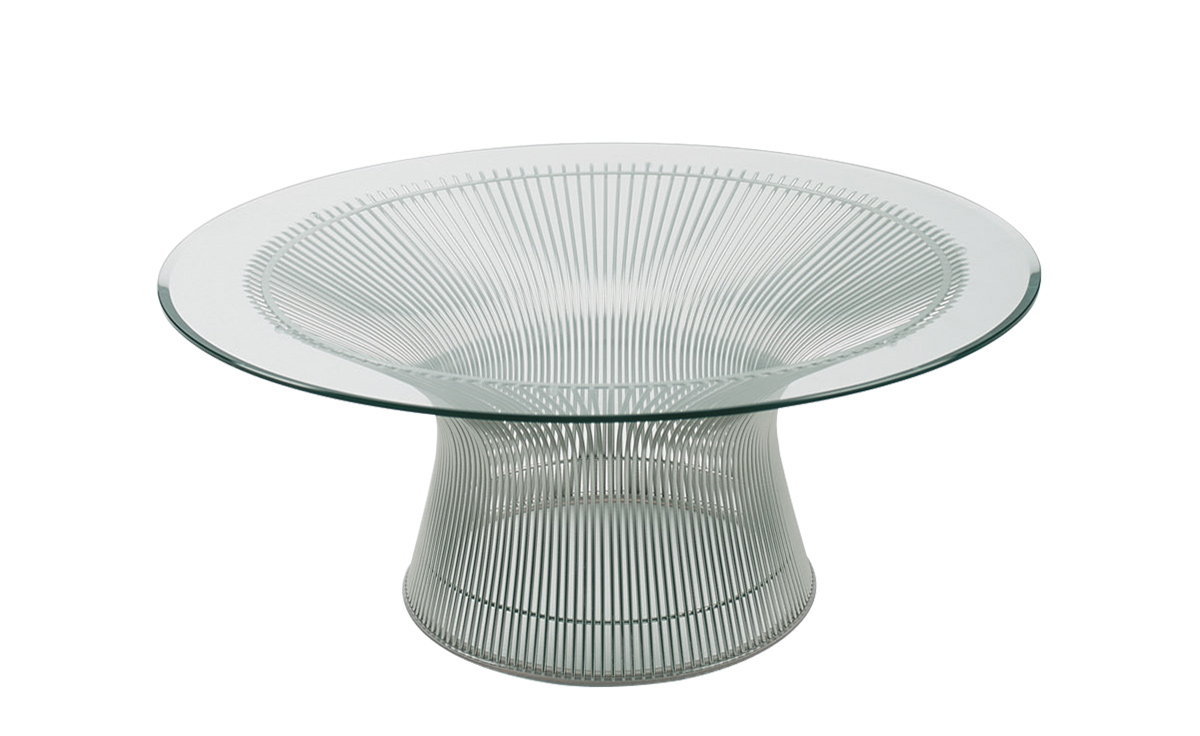platner nickel coffee table  dia  hivemoderncom - overview