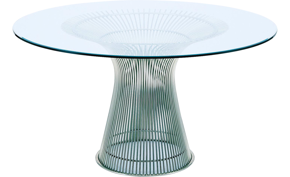 platner nickel dining table  hivemoderncom - overview