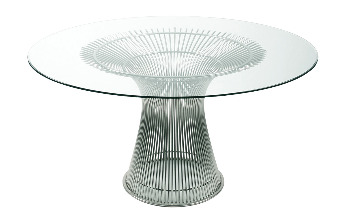 Unique modern floor lamps - Platner Nickel Dining Table Hivemodern Com