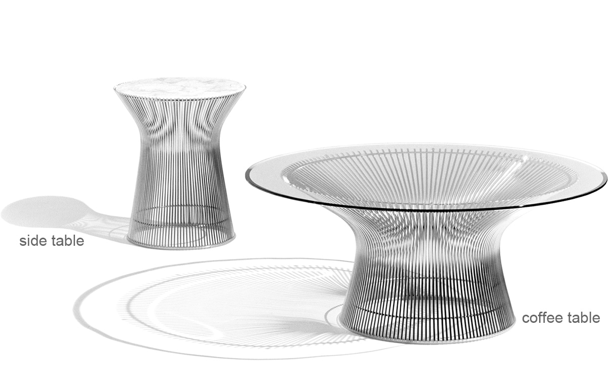platner nickel side table  hivemoderncom - overview