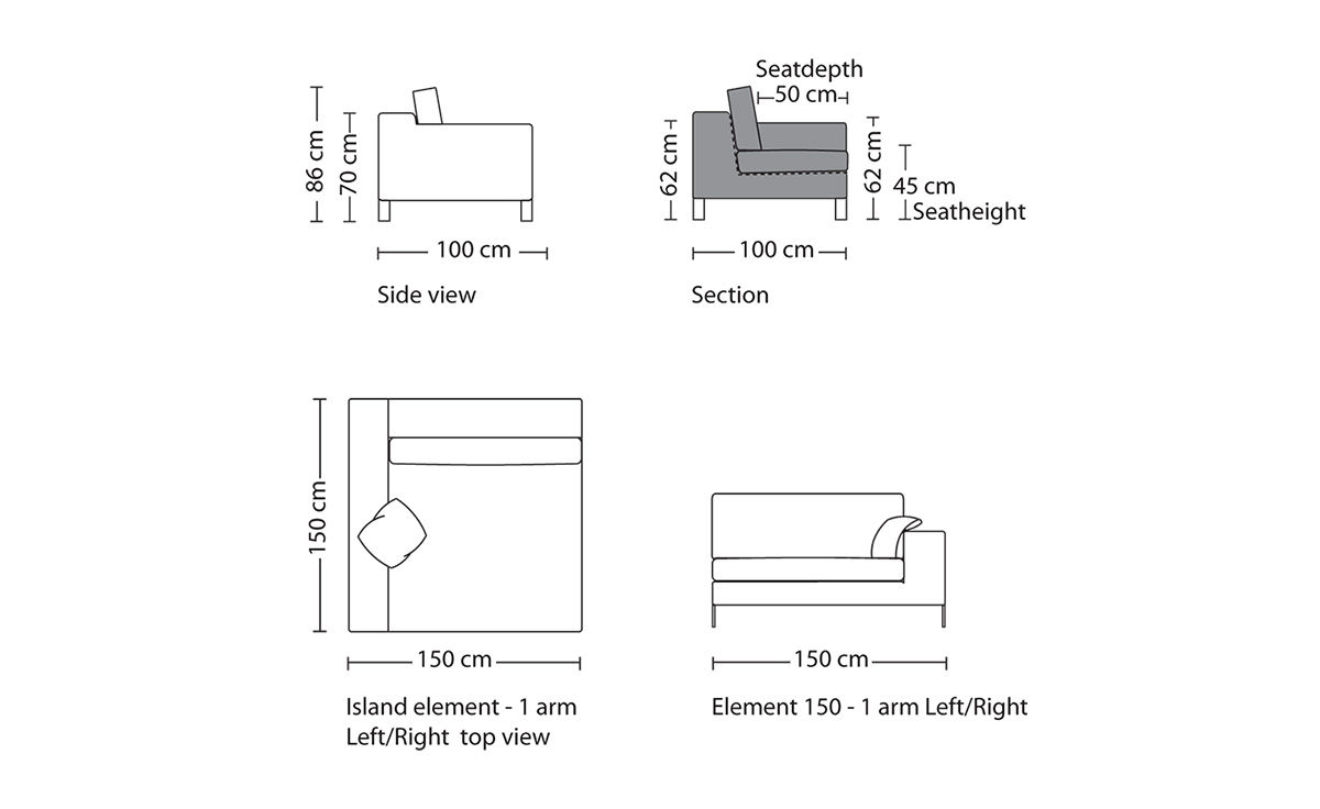 overview ...  sc 1 st  Hive Modern : sofa sectional drawing - Sectionals, Sofas & Couches