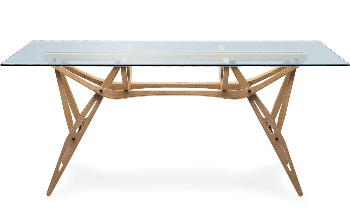 Carlo Mollino Reale Table hivemodern com # Table Verre Pied Bois