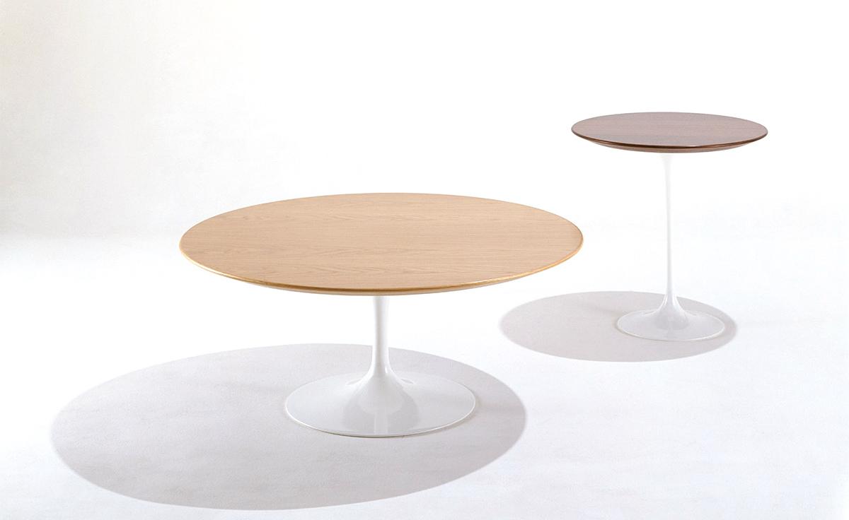 saarinen coffee table wood veneer  hivemoderncom - overview