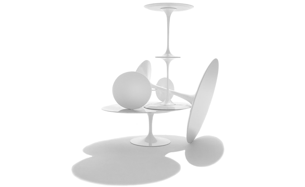 saarinen side table white laminate