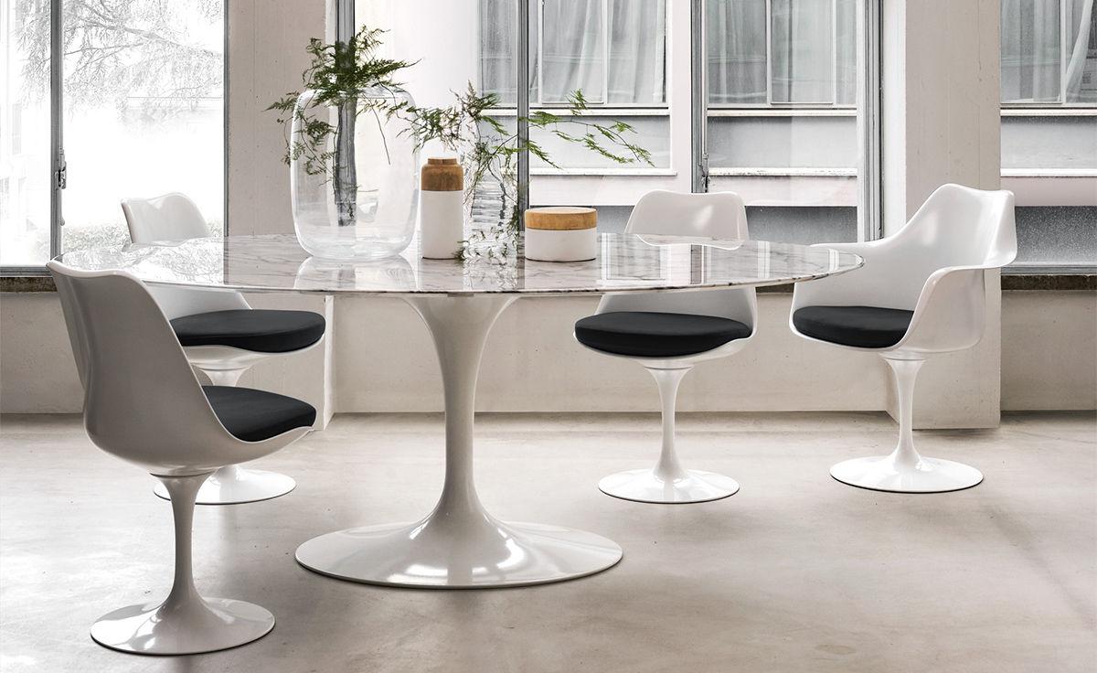 Saarinen White Tulip Arm Chair Hivemodern Com