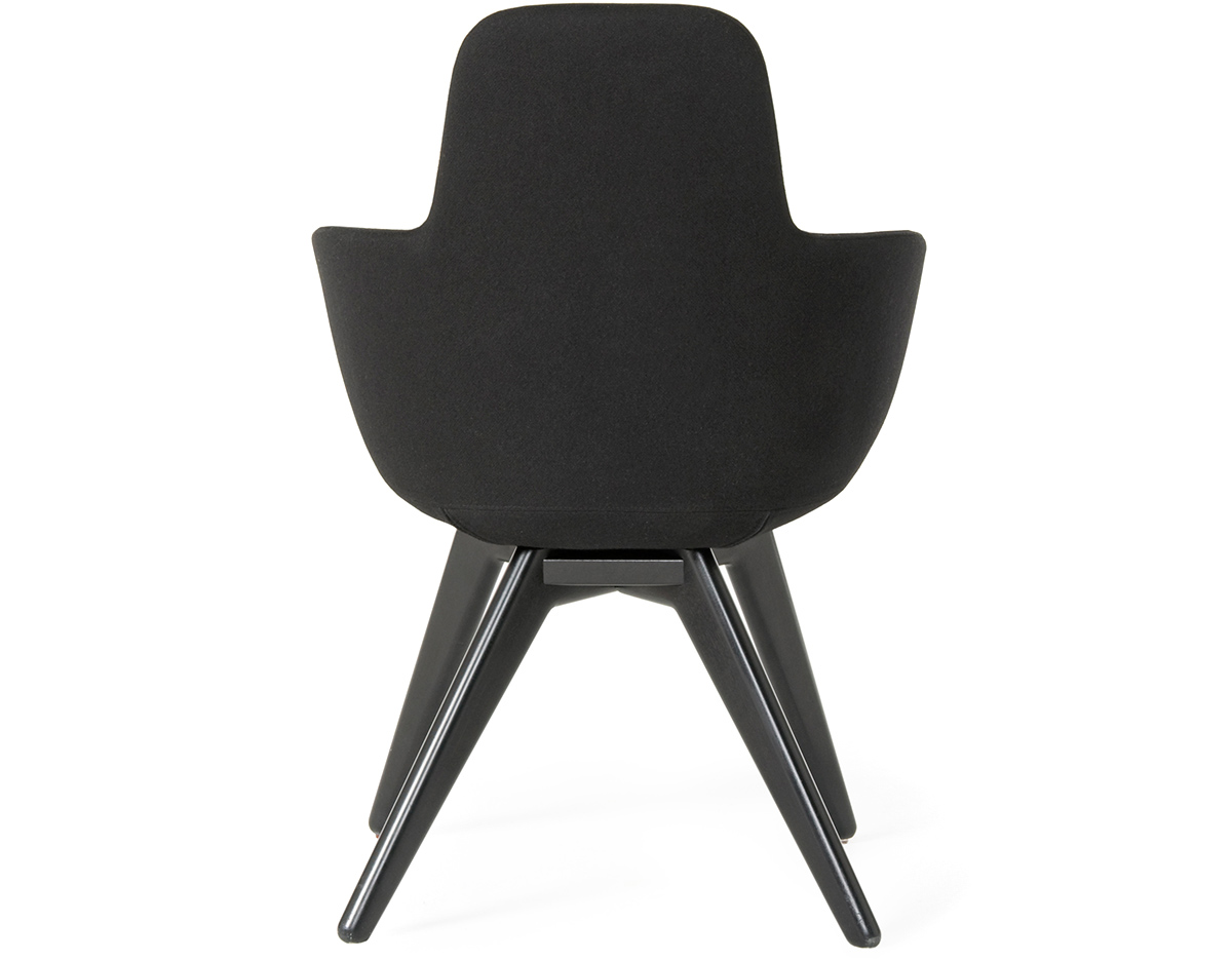Scoop High Back Chair With Wood Legs Hivemodern Com