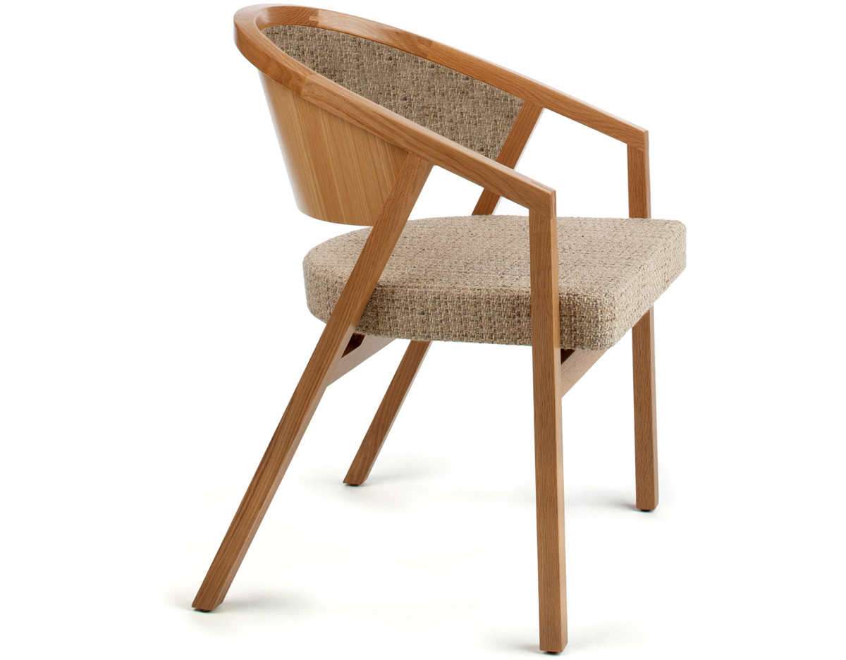 Shelton Mindel Arm Chair With Upholstered Seat & Back - hivemodern.com