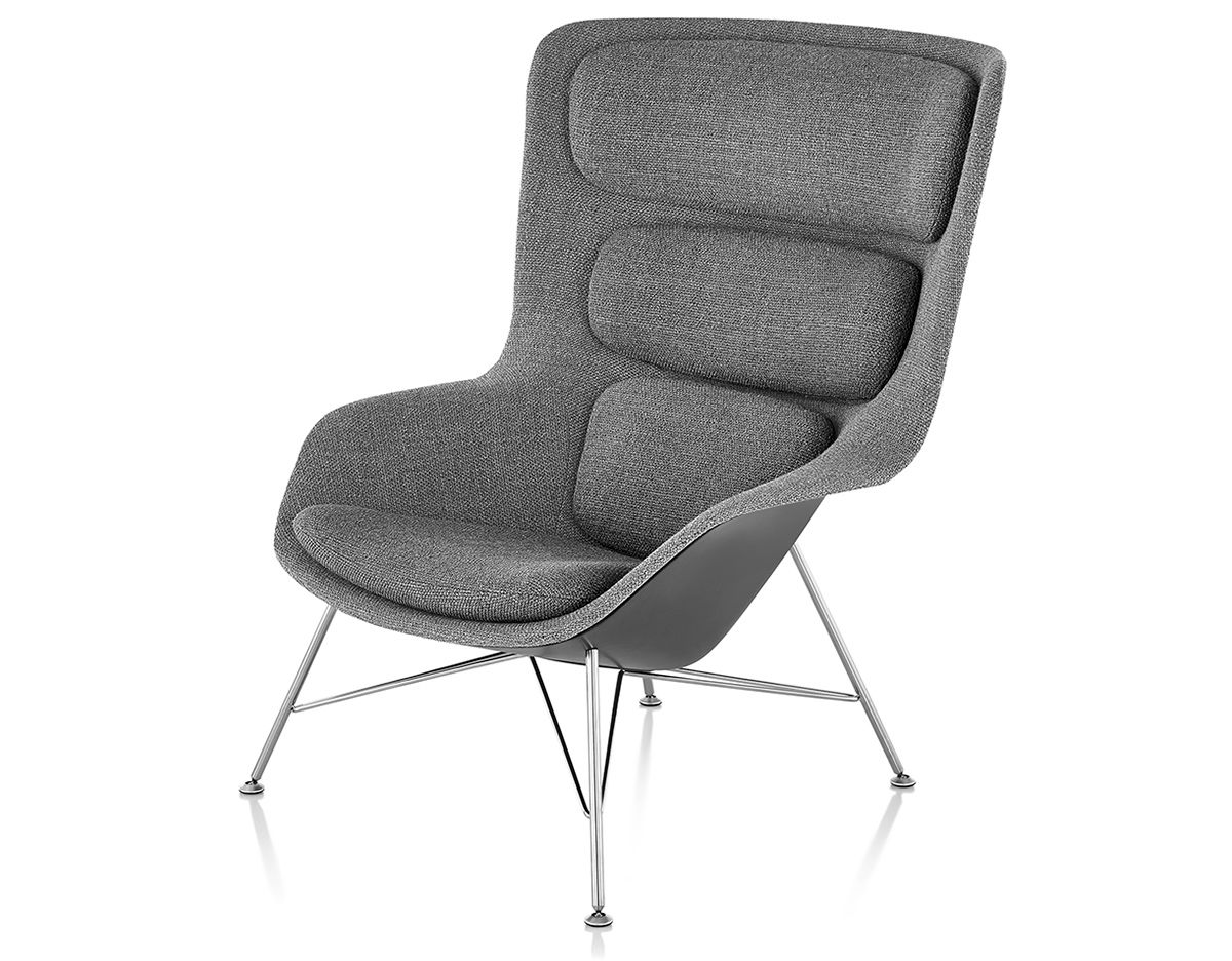 Striad™ High Back Lounge Chair With Wire Base hivemodern