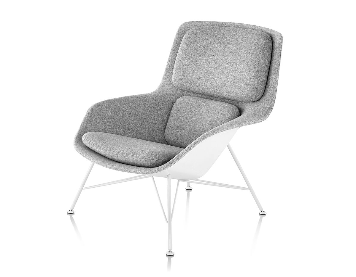 Striad Mid Back Lounge Chair With Wire Base Hivemodern Com