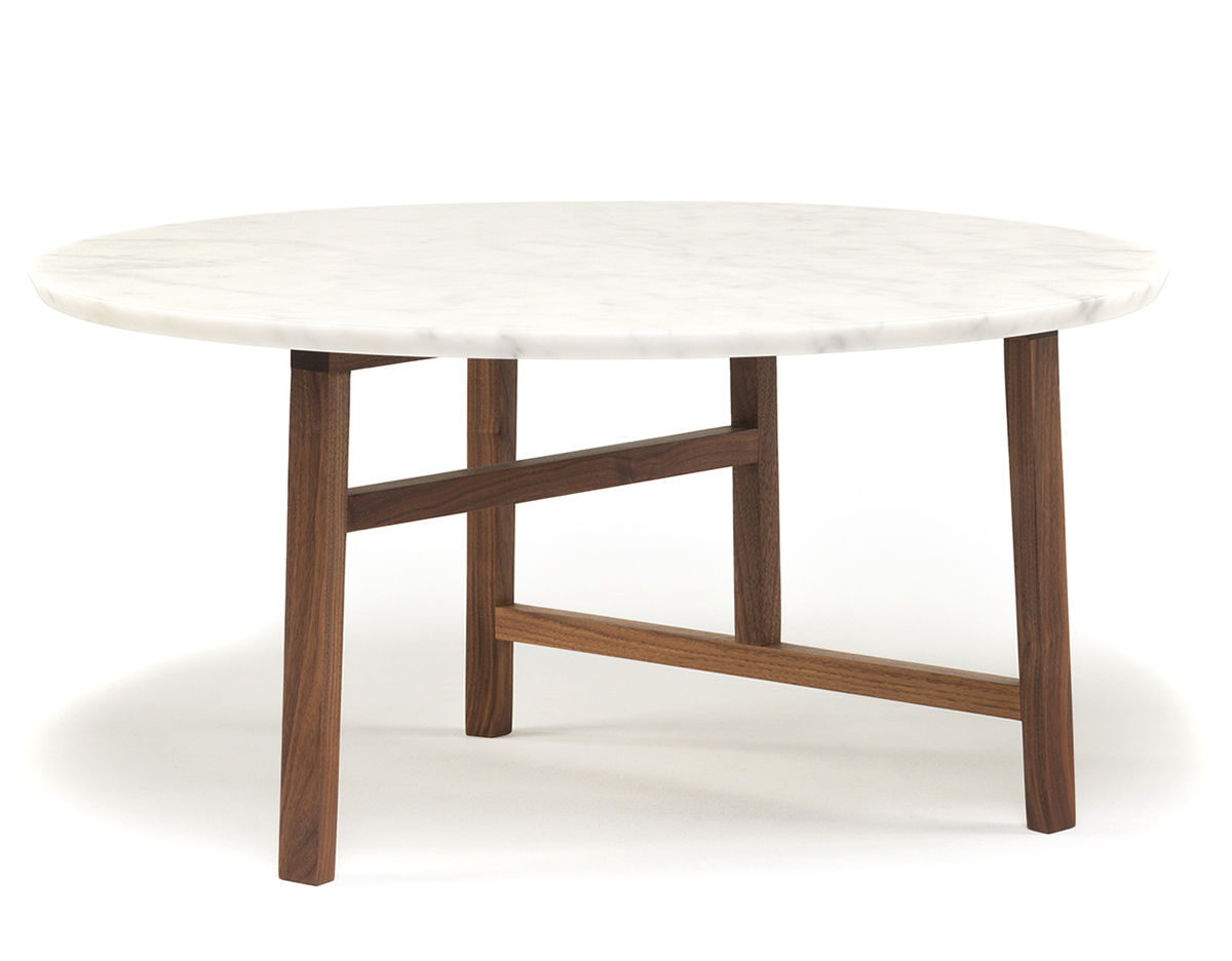 Trio Round Coffee Table With Marble Top 754mm hivemodern