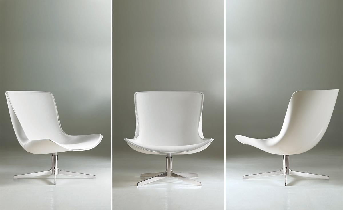 Vika Lounge Chair With White Fiberglass Back