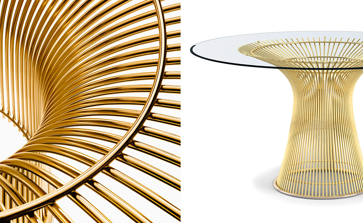 platner gold plated dining table