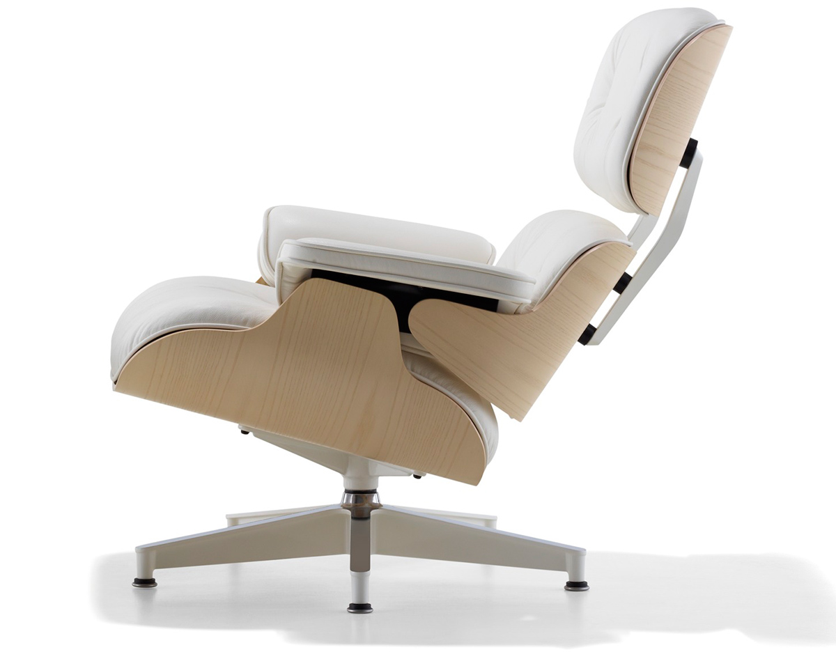 White ash eames lounge chair for Eames lounge sessel nachbau
