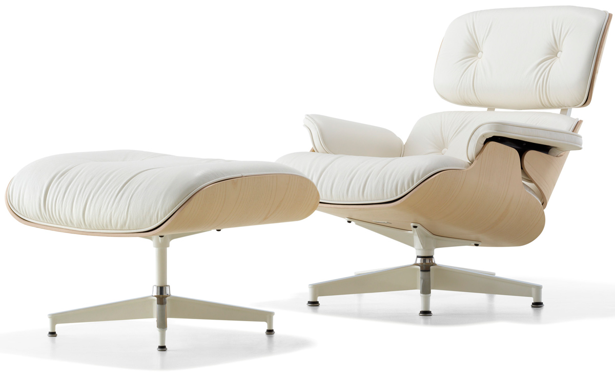 White Ash Eames Lounge Chair Ottoman