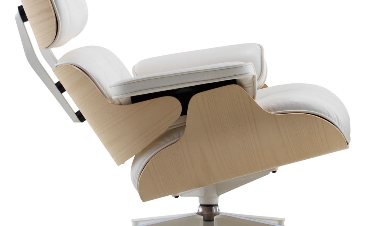 White ash eames lounge chair ottoman for Eames lounge chair abmessungen