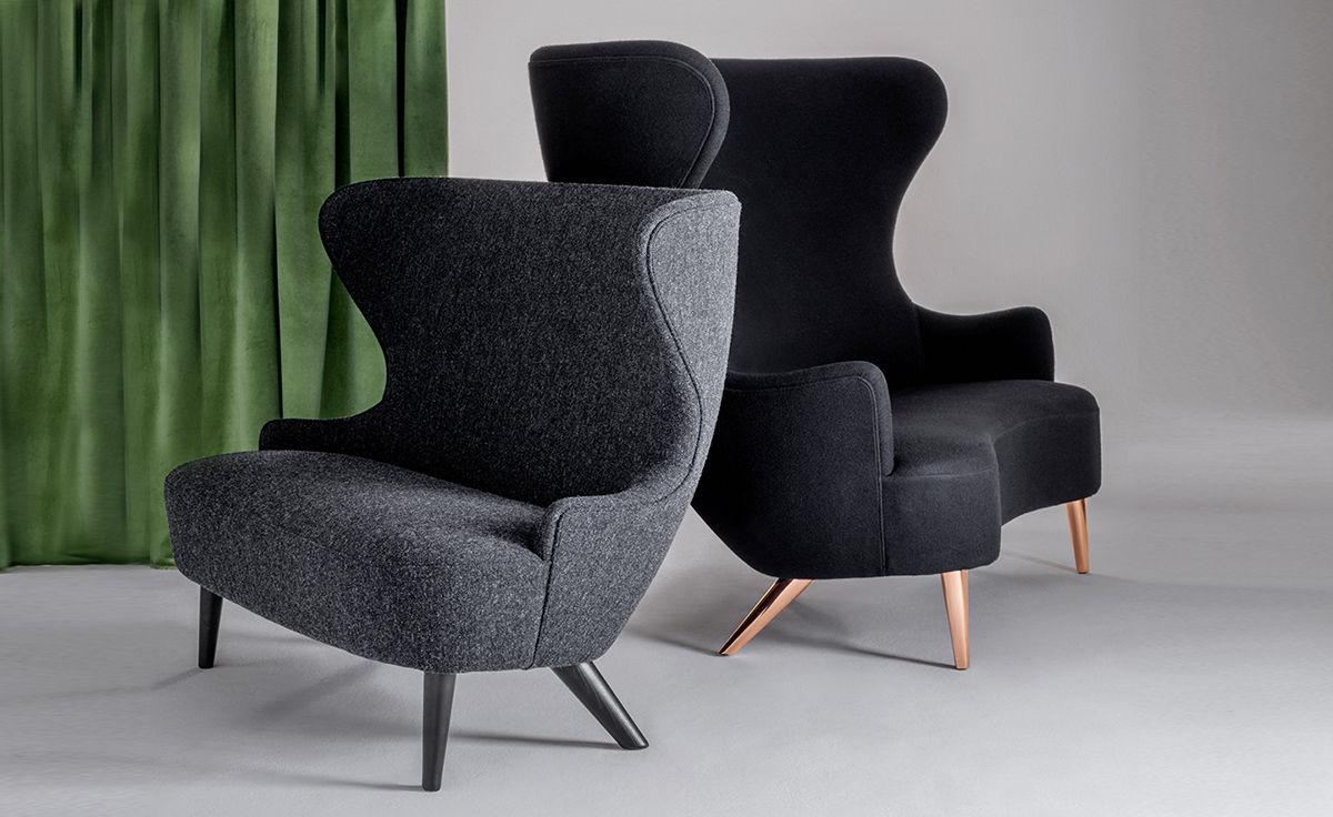 Wingback Micro Sofa With Wood Legs Hivemodern Com