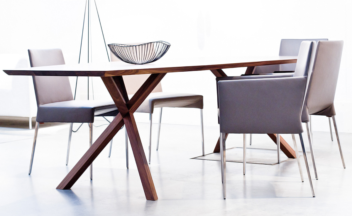 Xy trapezium dining table hivemodern.com