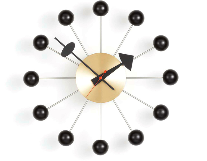 george nelson ball clock in black & brass