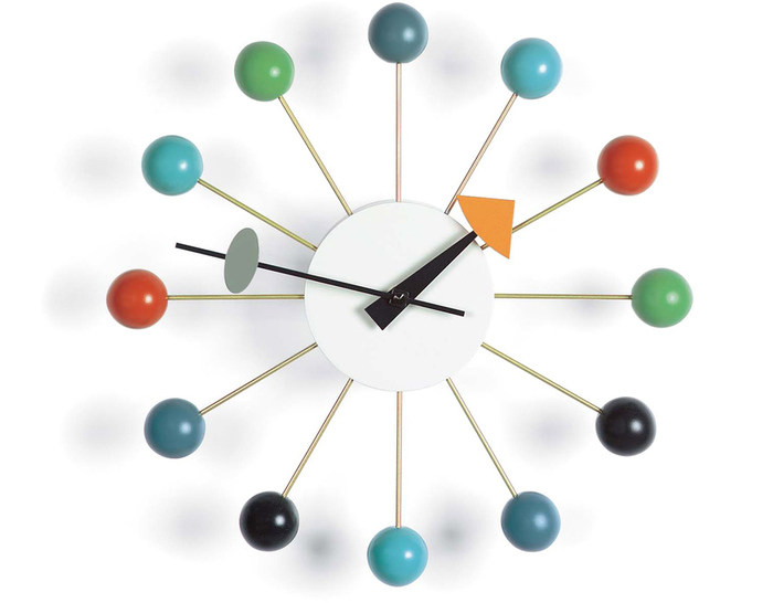 george nelson ball clock in multicolor