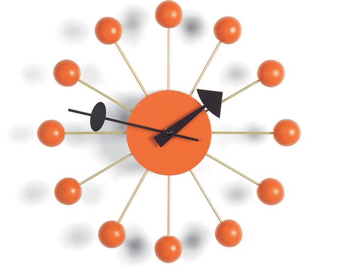 george nelson ball clock in orange