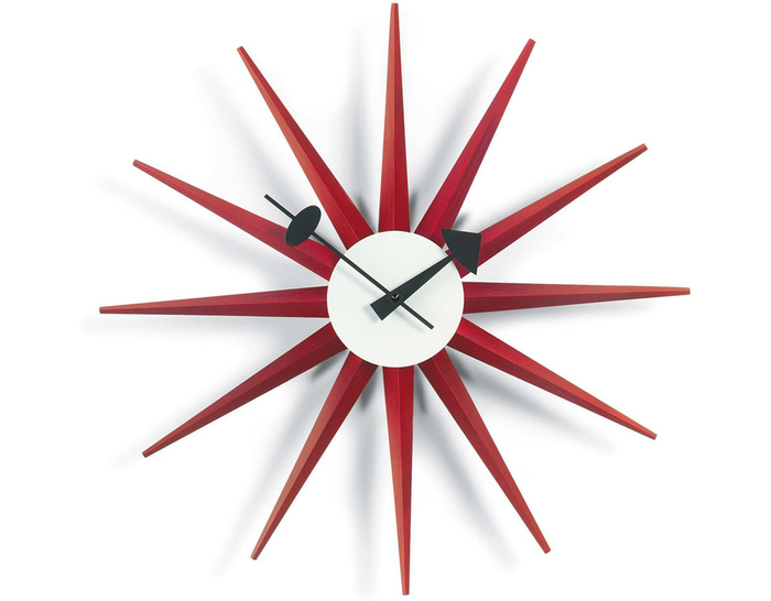 f6a398fba008 George Nelson Sunburst Clock Red. by George Nelson