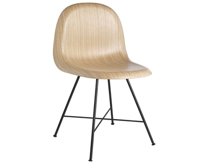 gubi 3d center base wood dining chair