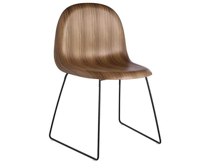 gubi 3d sled base wood dining chair