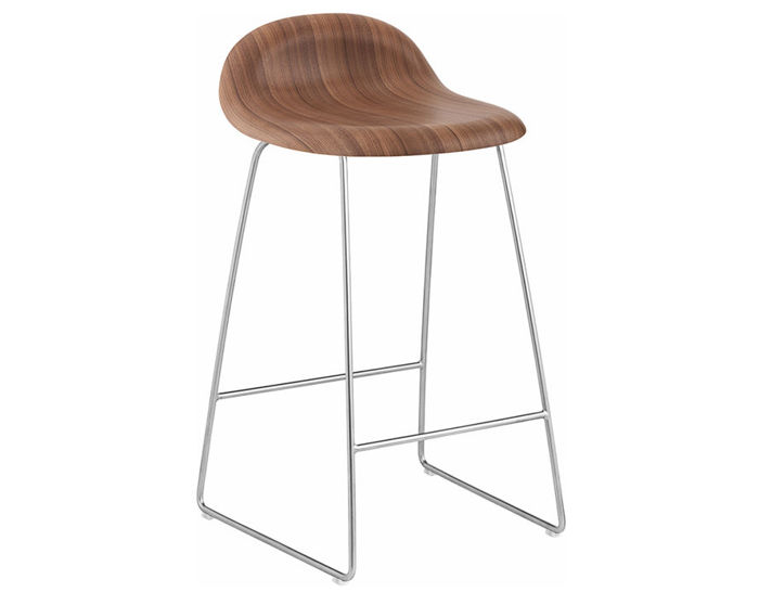 gubi 3d sled base wood stool