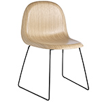 gubi 3d sled base wood dining chair  -