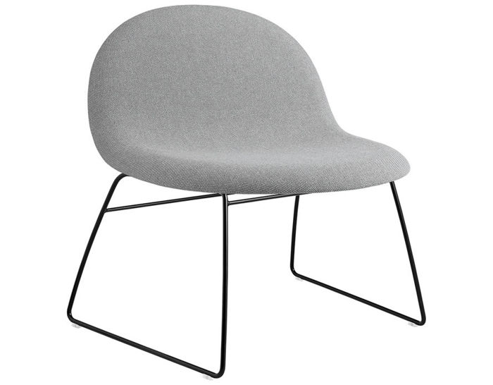 gubi 3d upholstered lounge chair with sled base
