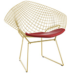 bertoia gold plated small diamond chair with seat cushion  -