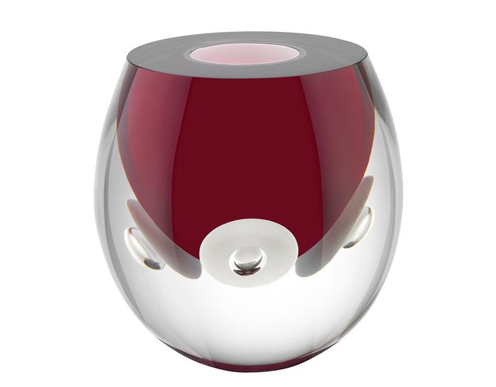 iittala claritas glass vase - red/white
