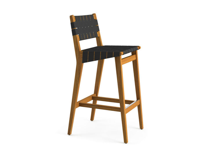 risom outdoor stool with webbed back